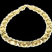 "10K Hugs and Kisses Link Fancy Tennis Bracelet 7.25"" Yellow Gold  [QPQX]"