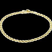 "10K Rope Link Fancy Chain Bracelet 7.25"" Yellow Gold  [QPQX]"