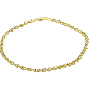 """10K Fancy Rolling Rope Link Chain Bracelet 7.25"""" Yellow Gold  [QPQX]"""