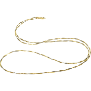 "14K Two Tone Twist Cascade Square Link Chain Necklace 17.5"" Yellow Gold"