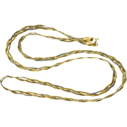 """14K Two Tone Braided Woven Herringbone Chain Necklace 17.5"""" Yellow Gold"""