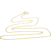 "14K Rolling Cable Link Chain Necklace 17.5"" Yellow Gold"