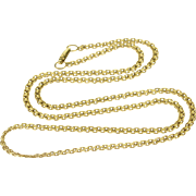 "14K Pressed Link Fancy Chain Necklace 17.5"" Yellow Gold"
