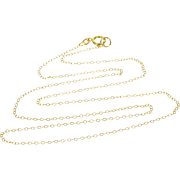 "14K Cable Link Loose Fancy Chain Necklace 17.75"" Yellow Gold"