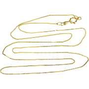 """14K Box Link Fancy Chain Necklace 17.5"""" Yellow Gold"""