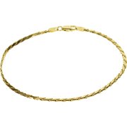 "14K Pressed Link Rope Twist Chain Bracelet 8"" Yellow Gold  [QPQX]"