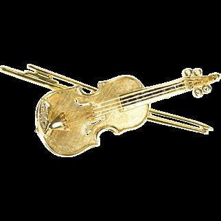 14K Sapphire Diamond 3D Violin Bow Music Instrument Pin/Brooch Yellow Gold