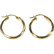 14K Two Tone Squared Twist Round Hoop Earrings White Gold  [QPQX]