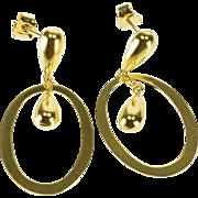 18K Oval Tear Drop Dangle Charm Post Back Earrings Yellow Gold  [QPQX]