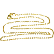 "14K 1.0mm Fancy Cable Link Chain Necklace 16.25"" Yellow Gold"
