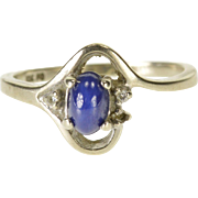 10K Oval Star Sapphire* Diamond Accented Bypass Ring Size 5.5 White Gold