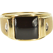 10K Black Onyx Square Diamond Accented Men's Ring Size 10 Yellow Gold
