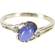 10K Oval Star Sapphire* Diamond Accented Bypass Ring Size 6.5 White Gold
