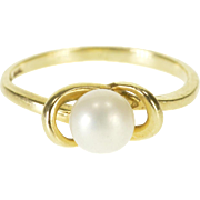 10K 5.5mm Pearl Wavy Design Alternative Engagement Ring Size 4 Yellow Gold