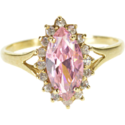 10K Pink Topaz Marquise Cubic Zirconia Halo Ring Size 9 Yellow Gold