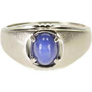 10K Star Sapphire* Brushed Texture Design Men's Ring Size 9.75 White Gold