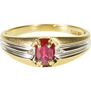 10K Retro Oval Cut Ruby* Surface Prong Two Tone Ring Size 10 Yellow Gold
