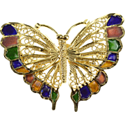 14K Ornate Filigree Enamel Colored Butterfly 3D Pin/Brooch Yellow Gold