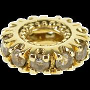 14K Cubic Zirconia Round Dot Trim Slide Bead Charm/Pendant Yellow Gold  [QPQX]