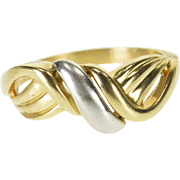 14K Two Tone Wavy Layered Twist Look Band Ring Size 6.75 Yellow Gold