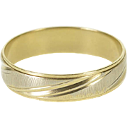 10K Two Tone Textured Grooved Men's Wedding Band Ring Size 11 Yellow Gold