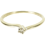 14K Diamond Round Prong Inset Wavy Bypass Ring Size 5.25 White Gold
