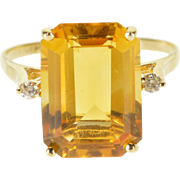14K Emerald Cut Citrine Diamond Accent Statement Ring Size 7 Yellow Gold