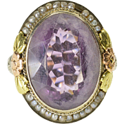 14K Oval Amethyst Seed Pearl Halo Ornate Filigree Ring Size 5.5 White Gold