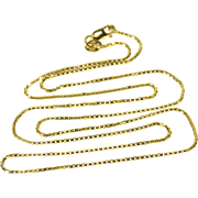 """14K 1.1mm Rounded Box Link Chain Necklace 20"""" Yellow Gold"""