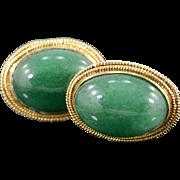 14K 24 Ct Cabochon Green Jade Cuff Link Yellow Gold