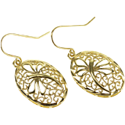 10K Oval Dragonfly Milgrain Scroll Design Hook Back Earrings Yellow Gold  [QPQX]