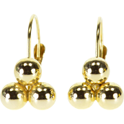 14K Ball Sphere Triangle Stack Lever Back Earrings Yellow Gold  [QPQX]
