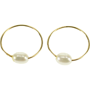 14K Pearl Accented Flush Closure Wire Hoop Earrings Yellow Gold  [QPQX]