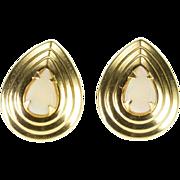 14K Pear Cut Opal* Scalloped Tear Drop Post Back Earrings Yellow Gold  [QPQQ]