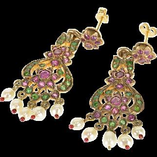 8K 2.50 Ctw Ruby Emerald Seed Pearl Victorian Dangle Earrings Yellow Gold  [QPQQ]
