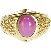 10K Pink Star Ruby* Oval Cabochon Textured Fancy Ring Size 10 Yellow Gold [QPQX]