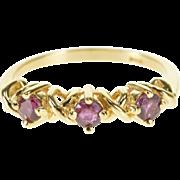 14K Garnet Three Stone Criss Cross Wedding Band Ring Size 5 Yellow Gold