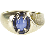 10K Star Sapphire* Oval Cabochon Crosshatch Texture Ring Size 6.5 White Gold