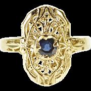 14K Sapphire Round Art Deco Scroll Filigree Ring Size 4.75 Yellow Gold