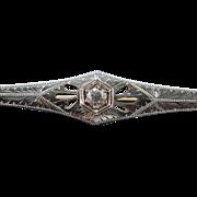 14K Art Deco 0.15 Ct Old European Cut Diamond Filigree Bar Pin/Brooch White Gold  [QPQQ]