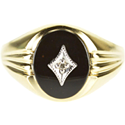 10K Oval Black Onyx Grooved Band Diamond Overlay Ring Size 10 Yellow Gold