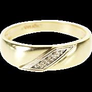 10K Diamond Diagonal Inset Men's Wedding Band Ring Size 11 Yellow Gold