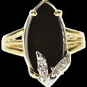 14K Marquise Onyx Diamond Inset Leaf Overlay Ring Size 4.5 Yellow Gold