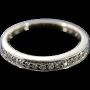 14K 0.20 Ctw Round Diamond Channel Set Wedding Band Ring Size 5.25 White Gold