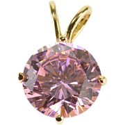 14K Round Cut Prong Set Pink Topaz Solitaire Pendant Yellow Gold  [QPQX]