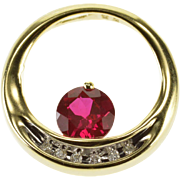10K Ruby* Diamond Channel Inset Ring Circle Pendant Yellow Gold  [QPQX]