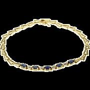 "10K Oval Sapphire Diamond Accented Arrow Link Chain Bracelet 7"" Yellow Gold  [QPQQ]"