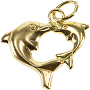 14K High Relief Dolphins Jumping Animal Ocean Charm/Pendant Yellow Gold  [QPQX]
