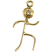 14K Diamond Accented Runner Jogger Athlete Charm/Pendant Yellow Gold  [QPQQ]