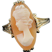 10K Carved Cameo Scroll Setting Ring Size 4.75 Yellow Gold